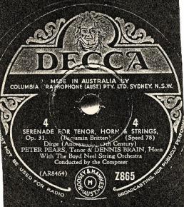 Britten Serenade label